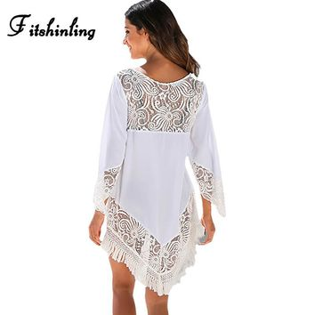 Fitshinling Lace patchwork fringe white sexy beach dresses for women hollow out hot pareos swimwear output summer dress