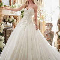 [208.99] Exqusite Tulle Sweetheart Neckline Ball Gown Wedding Dresses With Beaded Embroidery - dressilyme.com