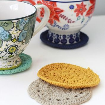 """Round Cotton Crocheted Table Coasters in Assorted Colors - 4 per Set - 4"""" Diameter"""