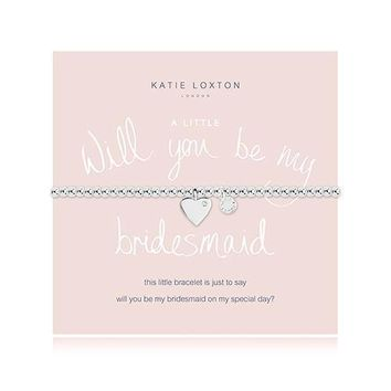 Will You Be My Bridesmaid Silver Bracelet with Heart Charm (Pack of 1)