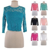 Sexy Sheer Floral Lace Crochet Cropped 3/4 Sleeve Tee Shirt Blouse Top