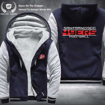 Dropshipping USA Size Unisex SF 49ERS Men Women Winter Thicken Fleece Hoodie Zipper Sweatshirt Jacket Costume Tracksuit made