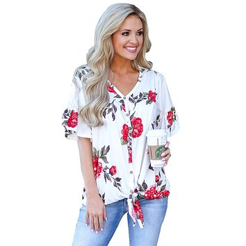 Hot Red Peony Blossom White Tie Front Blouse
