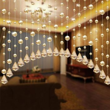 1 Luxury Crystal Glass Beads Door String Tassel Curtain Wedding Divider Panel Room Decor Bead Rope Solid Transparent Champagne v