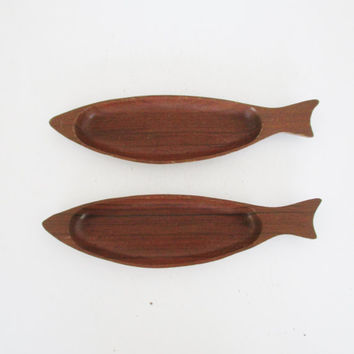 2 Wooden Fish Bowls Vintage Fish Shaped Wooden Serving Bowls African Walnut Wooden Bowls Mid Century Wooden Bowl Set Vintage Gift