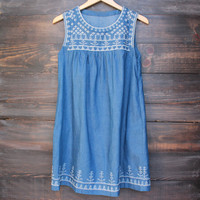 boho chic white embroidered chambray shift day dress