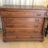 French Walnut Dresser Henri II style with red marble