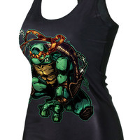 Black TMNT Michelangelo Print Graphic Tank Top