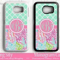Monogram Mint Galaxy S6 Edge S4 case S5 Ocean Seaweed Quatrefoil Tough Pastels Pink Aqua Custom Personalized Galaxy S3 Case Note 2 3 4 Cover