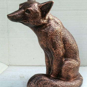 Bronze Fox Statue - Eclectic  Sculpture Hand Painted Kitsch Home decor