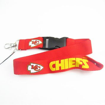 Kansas City Chiefs Keychain Football Lanyard Neck Strap Key Ring For ID Pass Card Badge Gym Key Mobile Phone USB Holder Lanyard