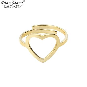 DIANSHANGKAITUOZHE 2017 Gold Anillos Adjustable Heart Stainless Steel Unique Rings For Women Men Silver Fashion BFF Boho Jewelry
