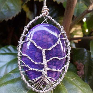 Tree Of Life pendant - PURPLE Dragon Veins Agate - wire wrapped