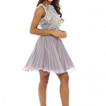 Grey Round Neck Crochet Lace Sleeveless Skater Pleated Dress
