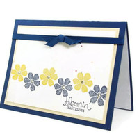 Congratulations Handmade Card Blue And Yellow Flowers Bloomin'