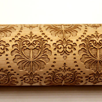 DAMASK Rolling Pin FLOWERS Embossing Laser Engraved Rolling Pin, Damask Pattern, Embossed Dough Roller, Christmas Gift for Mother, Big Size