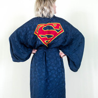 vtg 90s superman blue silk kimono, 1990s japanese navy robe vintage, marvel hero fashion, tumblr soft grunge, japan, vaporwave aesthetic