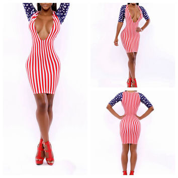 American Flag Print Deep V Long Sleeve Bodycon Midi Dress