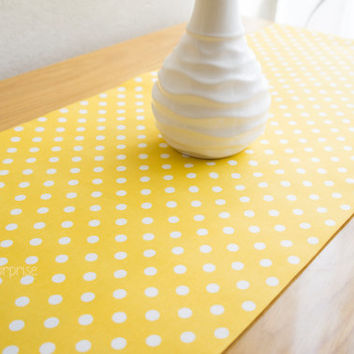 Yellow Polka-Dot Table Runner, Colorful Table Cover, Cotton Table Runner, Pastel Tablecloth, Home Decor,  Outdoor Table Runner