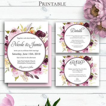 Burgundy Marsala Wedding Personalized Set, Invitations, Bohemian Wedding Invitation Suite, Wedding Cards, Customized DIY Invitation Suite