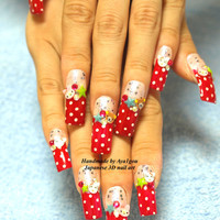 Meroko my melody and rilakkuma Japanese 3D nails by Aya1gou