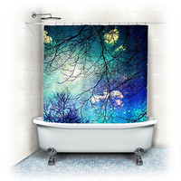 "Shower Curtain ""night sky"" clouds, stars,sky, night, trees,aqua,turquoise,blue, teal, bathroom, home decor,"