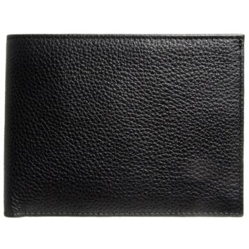 10-Cards Grained Leather Billfold Wallet Black