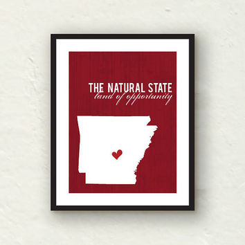Custom Silhouette - Arkansas razorback art - state wall art - Arkansas art 8x10 print - red decor
