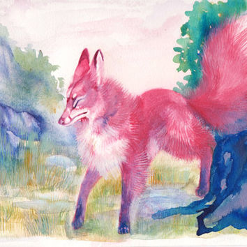 Kitsune in the Mountains Watercolor painting