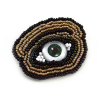 Beaded Eye Brooch Pin