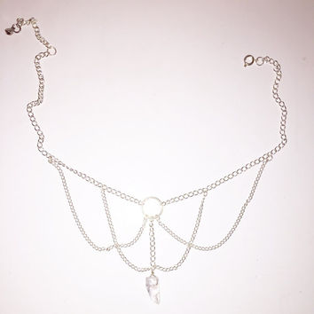 Silver Draped Chain Choker Necklace with Crystal Pendant