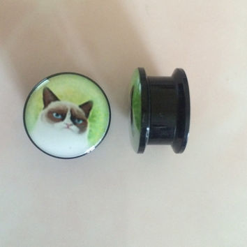 Grumpy cat ear tunnel / plug / gauge 16mm