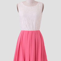 Dreaming Of Elegance Lace Dress In Pink