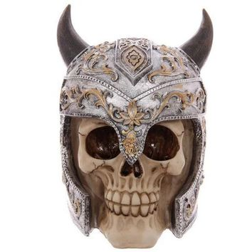 Horns Skull Knight Decoration Scary Skeleton Skull Resin Ornaments Mask Halloween Skull Bone Party Home Bar Table Decoration