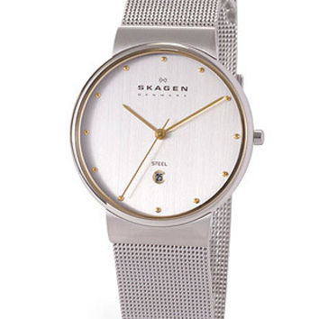 Skagen Mens Classic Mesh Watch - Two tone dial - Stainless Mesh band.