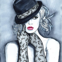 Original Watercolor Fashion Illustration Modern Art Painting titled Playful Hat