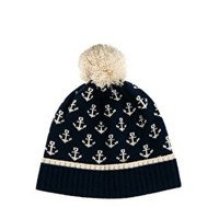 ASOS Bobble Beanie with Anchor at asos.com
