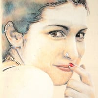 Original one-off portrait of Amy Winehouse, in charcoal and pastel on calico