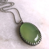 Green Chalcedony Necklace, Oval Lime Green Pendant, Long Silver Ball Chain
