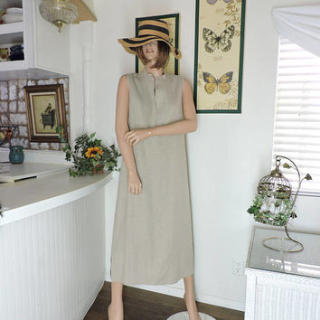 Linen maxi dress / size M / L / vintage sleeveless pin tucked natural linen long dress / beige linen summer dress / SunnyBohoVintage