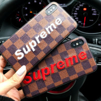 LV AND SUPREME print phone shell phone case for Iphone 7p/7/8/8p/X