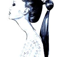 High ponytail girl, Art print of an original pen&ink fashion illustration by Rongrong DeVoe
