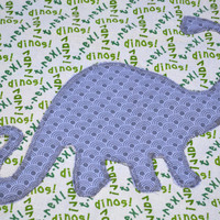 Primary color Dinosaur fleece baby blanket, quilted toddler blanket, travel blanket, baby blanket with dino's