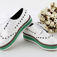 2013 Europe Womens Thick Bottom Rivets Studded Lace-up Oxford Platform Shoes 1jH
