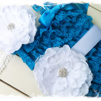 Turquoise Petti Romper with Large White Peony Flower Sash and Headband-Girls 1st Birthday Outfit-Photo Prop