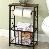 Scrolled Bathroom Storage Table Toilet Paper Holder Magazine Rack Organizer