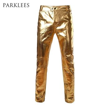 Motorcycle PU Leather Pants Mens Brand Skinny Shiny Gold Silver Black Pants Trousers Nightclub Stage Pants for Singers Dancers