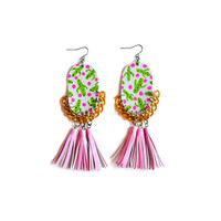 Pink Tassel Leather Earrings with Green Cactus and Pink Polka Dot Pattern | Boo and Boo Factory - Handmade Leather Jewelry