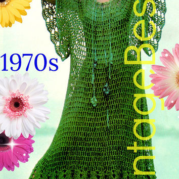 DIGITAL PATTERN •  Sea Dance Dress Crochet Pattern • Ladies Maxi Dress • Caftan Dress • Web • Bikini Cover Up • 1970s Vintage • PdF Pattern
