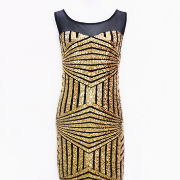 2016 new Sequined stunning club night party dress slim package hip geometric high-grade sequins sleeveless sexy dress